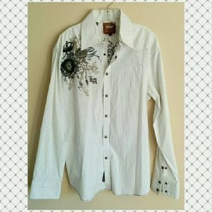 Roar Other - Roar Embroidered Men's Snap Front Dress Shirt XL
