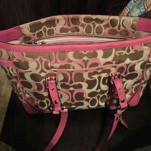 Pink and tan Coach shoulder bag