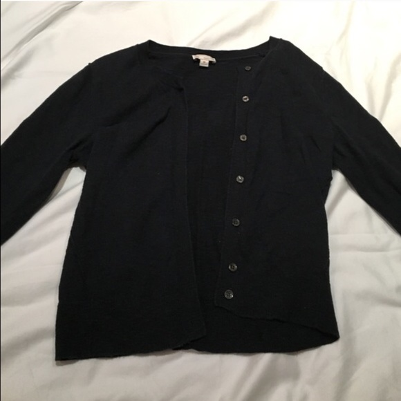74% off GAP Sweaters - Gap Cropped Navy Blue Button Up Sweater ...