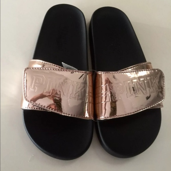 1b2532c21d18 Victoria Secret Metallic Bronze Slides Flip Flops