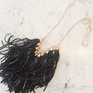 Bauble Bar leather tassel necklace