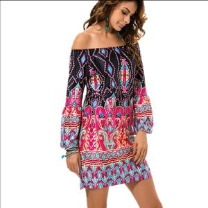 Dresses & Skirts - Off Shoulder Bold Floral Hippie Boho Tunic Dress