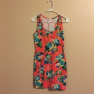 Peach Dress with Floral Print