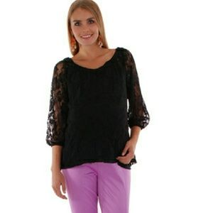 Everly Grey Tops - Maternity Lace Top
