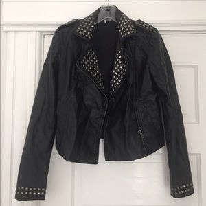 Black studded (faux) leather biker jacket