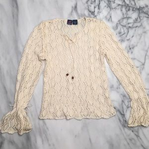 Anchor Blue Tops - Crochet Bell-Sleeved Top