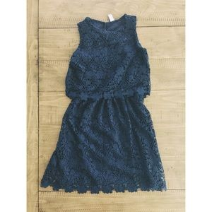 Zara girls lace overlay dress [NAVY]