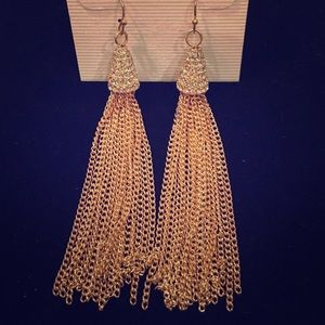 Jewelry - Gold chain tassel earrings with clear crystals