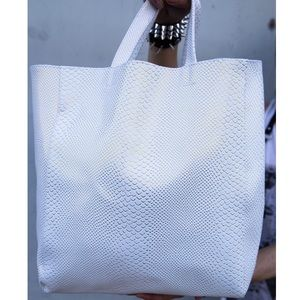 Saks Fifth Avenue Handbags - White Leather Gold Scale Tote Purse Handbag Large