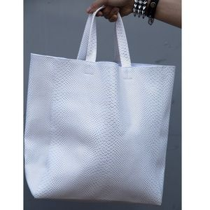 White Leather Gold Scale Tote Purse Handbag Large