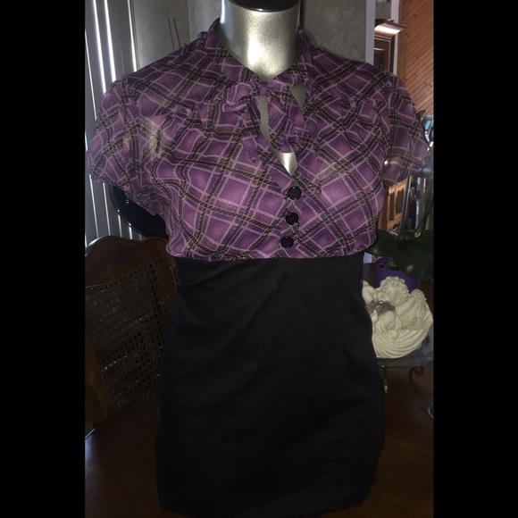 Purple/Plaid Secretary Dress 💜 ( PLUS SIZE )