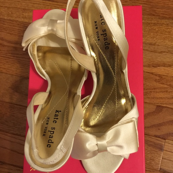 0627531105a4 Kate Spade Muse Ivory Satin Wedding Sandals