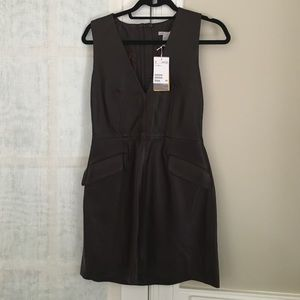 Brown/Wine leather dress low v neck