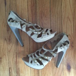 L.A.M.B strappy cream leather heels