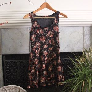 Wet Seal Black and Floral Lace Skater Dress