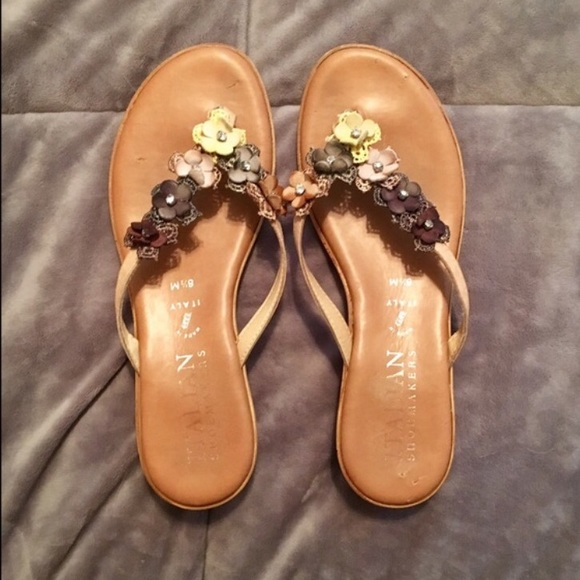 6857f5f74a90 Italian Shoemakers Shoes - Brown floral small wedge sandals