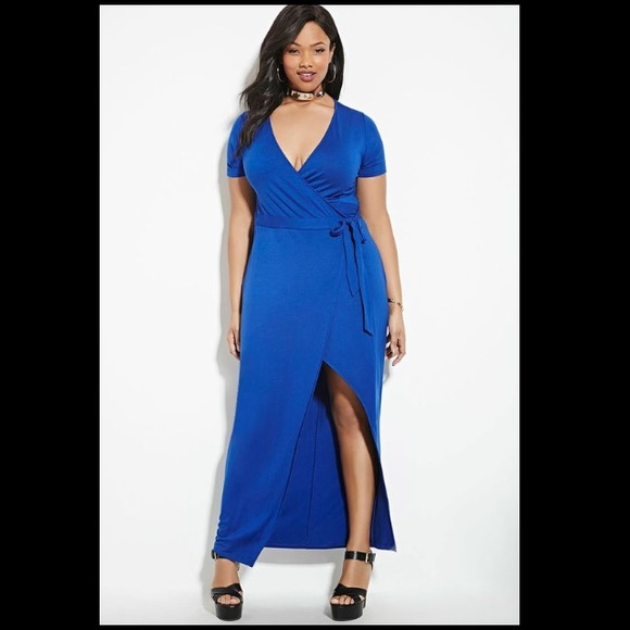 Royal Blue Forever 21 Plus Size Wrap Maxi Dress 2X NWT