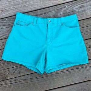 Size12 {Faded Glory} Teal High Waisted Denim Short