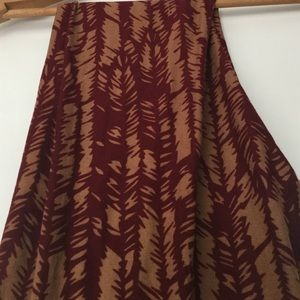 LuLaRoe Pants - Lularoe OS Leggings Tan Burgundy Brown