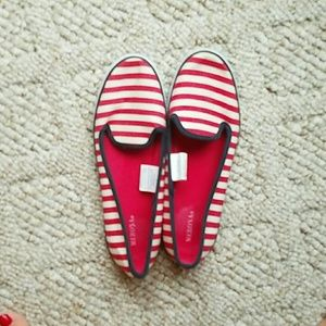Shoes - Red and navy and whi striped flats/boat shoes sz 7