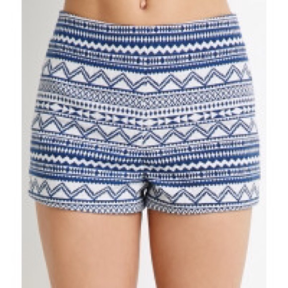 50% off Forever 21 Pants - Blue and White High Waist Patterned ...