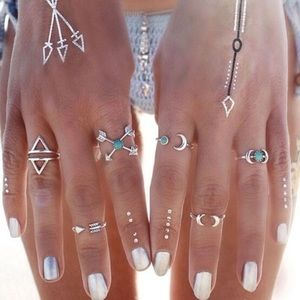 LF Jewelry - Silver and Blue Boho Ring Set