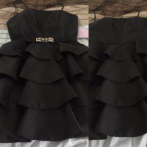 JS Collections Dresses & Skirts - Black Ruffle Strapless Dress