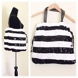 Nila Anthony Handbags - Nila Anthony black/White sequins bag NWOT