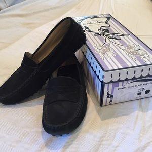 London Sole Shoes - London Sole black suede driving shoe