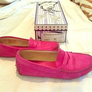 London Sole Shoes - London Sole fuchsia driving shoe