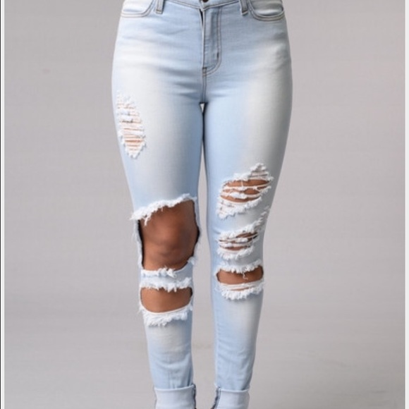 17% off Fashion Nova Denim - Fashion nova ripped jeans light wash ...