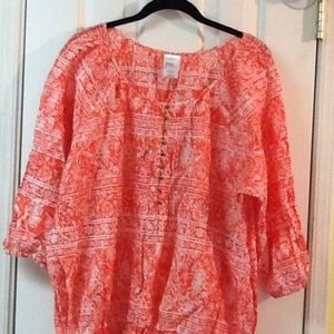Just My Size Tops - Women's Plus Size 3X Coral White Cotton Top