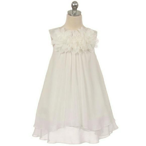 048fbe608d27 IVORY Chiffon A-Line Girl Dress Mesh Flowers Boutique