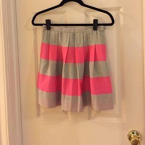 Pleated J Crew striped skirt