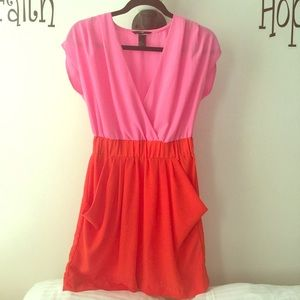 BRIGHT pink and orange/coral dress 