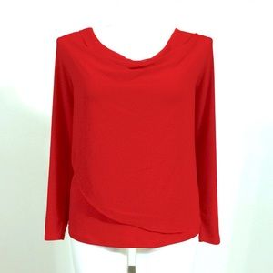 Calvin Klein Red Draped Blouse