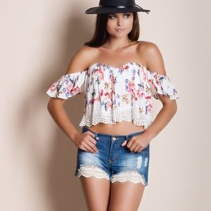 Off Shoulder Floral Print Crochet Hem Crop Top