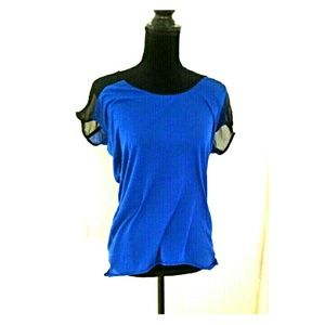 Lucca Couture Tops - Lucca Couture Sheer Black and Blue Top