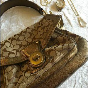 Coach Monogram shoulder bag with gold trim
