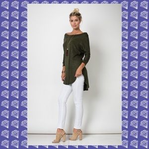 {LAST 1} SALE 3/4 sleeve top olive hi-low