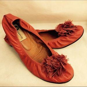 Lanvin Shoes - Lanvin burnt orange leather floral ballet flats