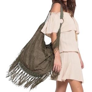 Southern Girl Fashion Handbags - HOBO BAG Fringed Eyelet Large Shoulder Book Tote