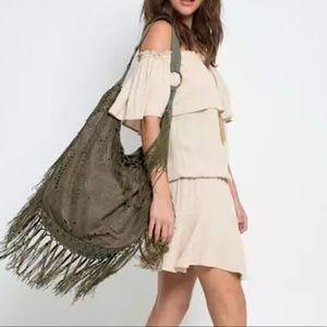 Southern Girl Fashion Handbags - HOBO BAG Fringed Eyelet Large Shoulder Book Tote