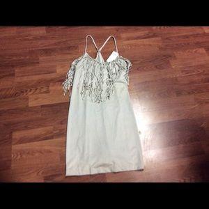 Dresses & Skirts - NWT gray fringe summer dress from JCPenney