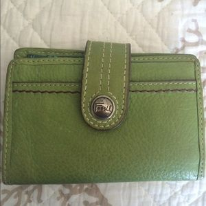 Green Leather Fossil Wallet