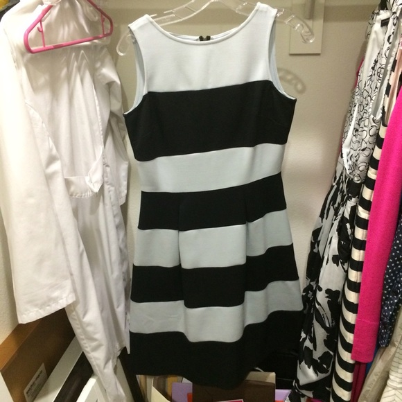 Blue and black striped dress loft