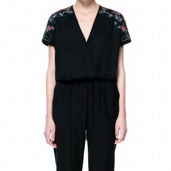 72 Off Zara Pants  Zara Black Embroidered Sleeve