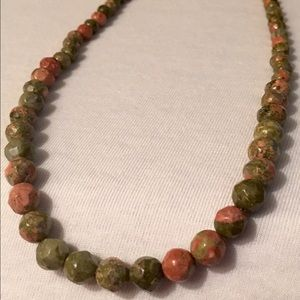 Unakite Stone bead Necklace and earring Set