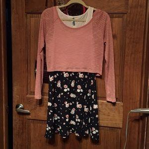 Tank top dress w/sweater NWOT pink flowers Size M