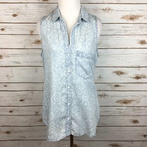 [Anthropologie] Ikat Chambray Shirt Sleeveless Top